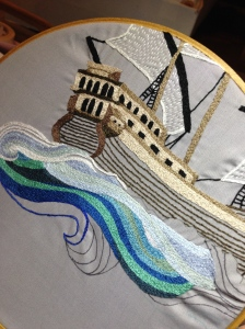 Image of an embroidery of a ship
